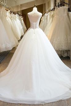 Natürliche Taille Reich Scoop Bördeln Schnüren Ärmellos Brautkleid