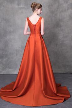 Ärmellos Fallen Birne Perlengürtel Bördeln Natürliche Taille Lange Abendkleid