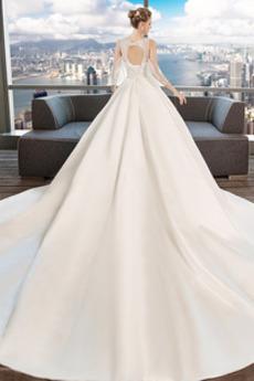 Formalen Schlüsselloch Rücken Tiefer V-Ausschnitt Brautkleid