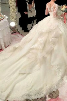 Illusionshülsen Natürliche Taille Winter Frenal Hof zug Brautkleid