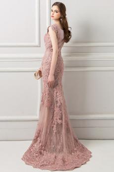 Natürliche Taille Juwel akzentuiertes Mieder hoch gedeckt Abendkleid