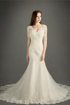 T Hemd Elegante Spitze Natürliche Taille Spitzenüberlagerung Hochzeitskleid
