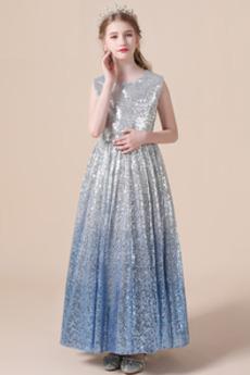 Funkeln Sternenklar Knöchellänge Natürliche Taille Kleine Mädchen Kleid