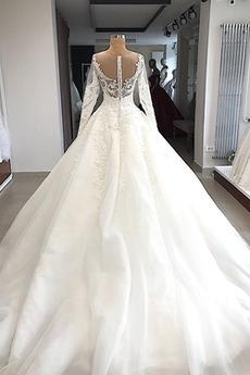 Juwel Juwel akzentuiertes Mieder Natürliche Taille Hochzeitskleid