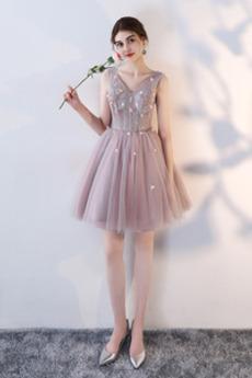kurze v-Hals Hochzeit Blumen Glamourös Trichter Brautjungfernkleid
