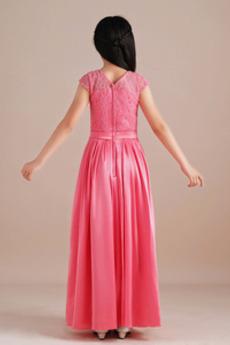 Spitze Einfach Tanzparty Knöchel Länge Spitzenüberlagerung Kleine Mädchen Kleid