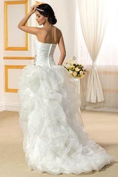 Satiniert Natürliche Taille Zierlich Frühling Hochzeitskleid