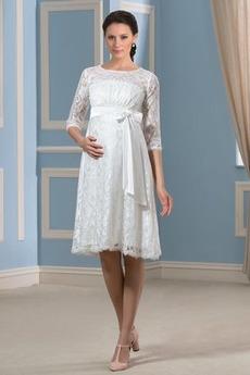 Juwel Reich Taille Akzentuierter Bogen Mutterschaft Brautkleid