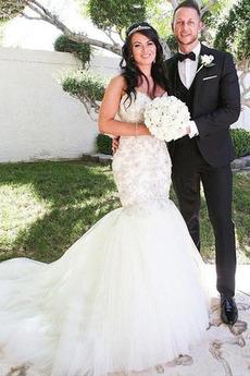 Meerjungfrau Fegen zug Schatz Natürliche Taille Tüll Brautkleid