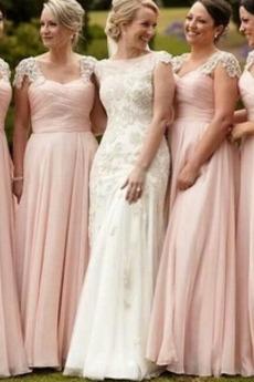Bankett Mit geschlossenen Ärmeln Platz Natürliche Taille Brautjungfernkleid