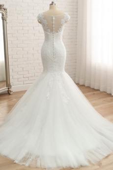 Ärmellos Elegante Fegen zug Mit geschlossenen Ärmeln Brautkleid