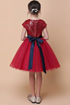 Juwel Sequiniert T Hemd Trichter Frühling Blumenmädchen kleid