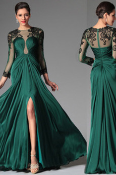 Illusionshülsen Fegen zug Natürliche Taille Juwel Abendkleid