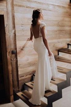 Satiniert Lehnenlose romantische Bodenlänge Ärmellos Brautkleid