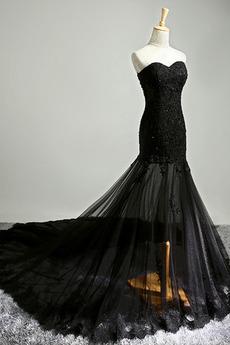 Partei Meerjungfrau Natürliche Taille Schatz Spitze Abendkleid