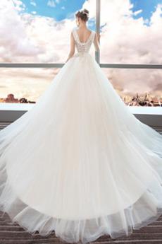 Formalen A Linie Natürliche Taille Kathedrale Zug Rückenlose Brautkleid