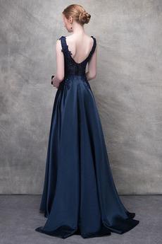 Natürliche Taille Spitzenüberlagerung A Linie Formalen Abendkleid