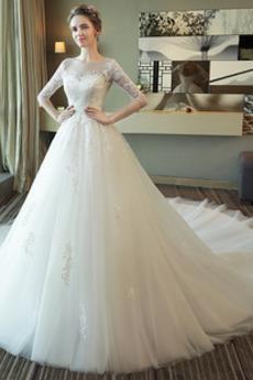 T Hemd Trichter Breit flach 3/4 Länge Ärmel Natürliche Taille Hochzeitskleid