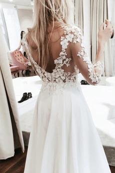 Breit flach Illusionshülsen Länge des Bodens Vorgespalten Hochzeitskleid