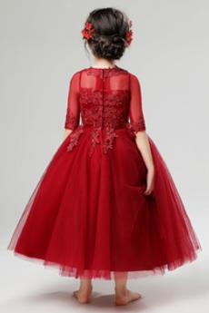 Kurze Ärmel Spitze Spitze Formalen Teelänge Blumenmädchen kleid