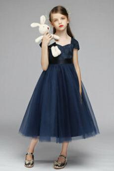 T Hemd Natürliche Taille Formalen Teelänge Kleine Mädchen Kleid