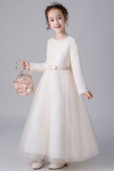 Spitze Natürliche Taille Formalen Trichter Blumenmädchen kleid