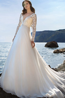 V-Ausschnitt Angehoben Illusionshülsen Hoch bedeckt Brautkleid