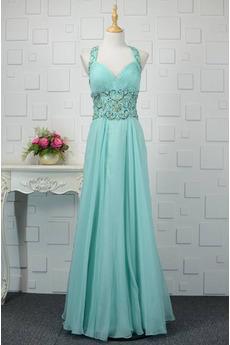 Chiffon V-Ausschnitt A Linie Sommer Zierlich Kristall Abendkleid