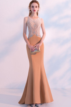 Juwel akzentuiertes Mieder Schlüsselloch zurück Meerjungfrau Abendkleid