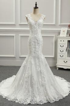 Mit geschlossenen Ärmeln Meerjungfrau Schöne Trägerlose Brautkleid