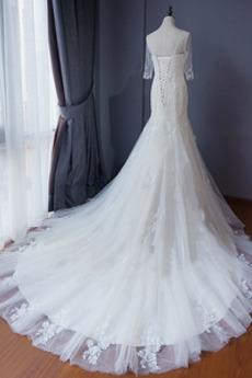 Kathedrale Zug Schöne Illusionshülsen Draussen Tüll Brautkleid