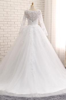 Frühling Romantisch Illusionshülsen Taste Tüll Lange Brautkleid