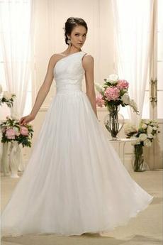Natürliche Taille Eine Schulter Gefaltete Mieder Drapiert Brautkleid