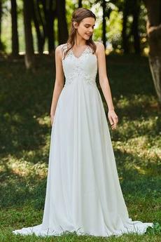 Lehnenlose Rechteck einfache Ärmellos V-Ausschnitt Brautkleid