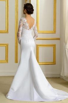 Fiel Taille Spitzenbesatz Reißverschluss Fest Lange Brautkleid