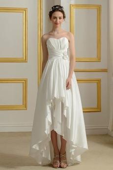 Taffeta Trichter Frenal Lehnenlose Natürliche Taille Asymmetrische Brautkleid