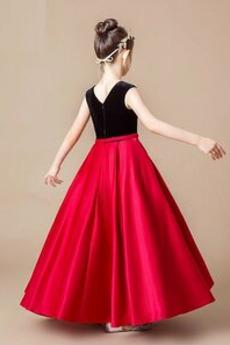 Juwel Akzentuierter Bogen Natürliche Taille Blumenmädchen kleid
