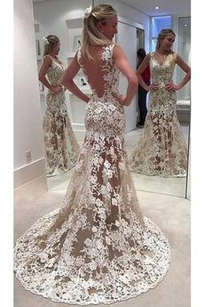 Fegen zug Sommer Invertiertes Dreieck Meerjungfrau Hochzeitskleid