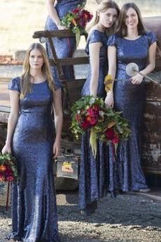 Invertiertes Dreieck Lange Natürliche Taille Meerjungfrau Brautjungfer Kleid