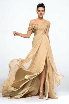 Trichter Vorderer Schlitz Tanzparty Ärmellos Natürliche Taille Abendkleid