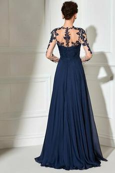 Breit flach Spitzenüberlagerung Trichter A Linie Natürliche Taille Abendkleid