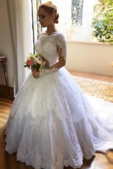 Juwel A Linie Spitze Zurückhaltend Reißverschluss Lange Ärmel Brautkleid