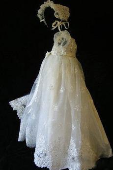 Hoch bedeckt Puff Ärmel Natürliche Taille Blumenmädchen kleid
