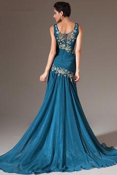 Chiffon Bankett Natürliche Taille Ärmellos Meerjungfrau Abendkleid