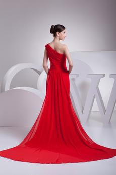 Trichter Chiffon A Linie Eine Schulter Länge des Bodens Einfache Abendkleid