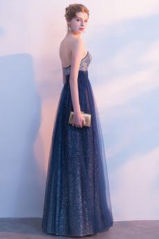 Trägerlos A Linie Ärmellos Glänzend Lehnenlose Natürliche Taille Abendkleid