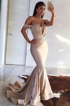 Einfach Tau Schulter Meerjungfrau Ärmellos Lange Gefaltete Mieder Abendkleid