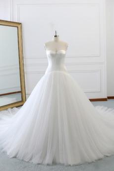 A Linie Natürliche Taille Drapiert Fallen Trichter Brautkleid