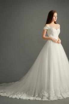 Frühling Natürliche Taille A Linie V-Ausschnitt Tüll Brautkleid