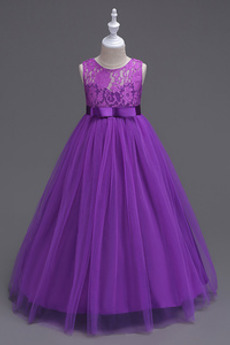 Ärmellos Tüll Klassisch Juwel Knöchellänge Blumenmädchen kleid